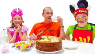 Макс и Катя приготовили Завтрак для папы