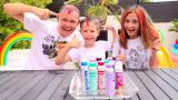 3 цвета Лака Тай Дай для волос ЧЕЛЛЕНДЖ папа Макса против Инны или 3 COLOR OF HAIR tie DYE CHALLENGE